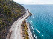 Aerial view road shore Stock Image