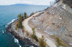 Aerial view road shore Stock Photos
