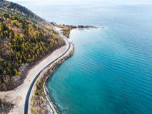 Aerial view road shore Royalty Free Stock Images