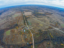 Aerial view of the road to bypass the village Trestna. Shooting with the bird`s eye view of Maksatikhinskiy district of Tver region Royalty Free Stock Photo
