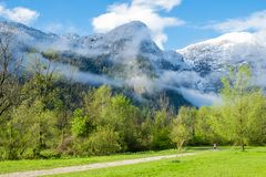 Aerial View road to Obertraun city. Road through pasture to Obertraun have tree on clear blue sky, Austria stock images