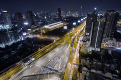 Aerial view road traffic transportation and city in bangkok at n Stock Photo