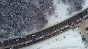 Aerial view of a road in winter landscape stock video