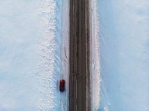 Aerial view of a road in winter landscape stock photo