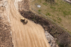 Aerial view of the  roadroller tracks on sand Royalty Free Stock Image