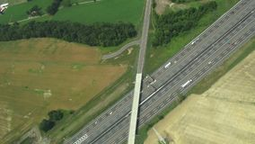 Aerial View of Roadway, Traffic, Cars stock video footage