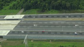 Aerial View of Roadway, Traffic, Cars stock footage