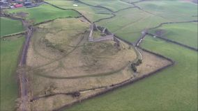 Aerial view. Roche castle. Dundalk. Ireland stock video footage