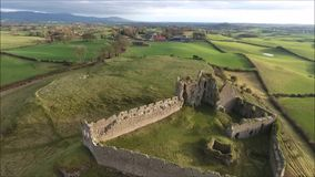 Aerial view. Roche castle. Dundalk. Ireland. Aerial view. Roche castle. Dundalk. county Louth. Ireland stock footage