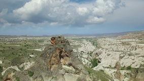 Aerial view rock in Cappadocia stock footage