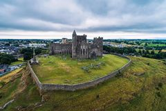 Aerial view of the Rock of Cashel in Ireland stock image