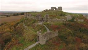 Aerial view. Rock of Dunamase. Portlaoise. Ireland stock video footage