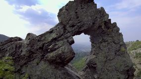 Aerial view of Rock formation Halkata in the park Blue Stone mountain, Bulgaria stock footage