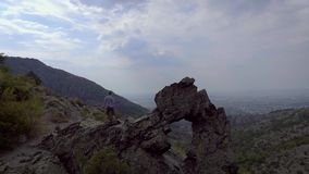 Aerial view of Rock formation Halkata in the park Blue Stone mountain, Bulgaria stock video footage