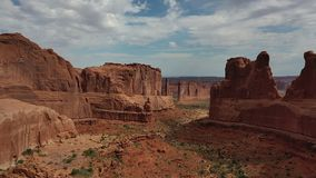Aerial view of rock formations in Arches National Park in Utah