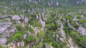 Aerial view of rock formations stock video