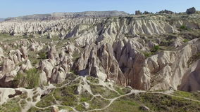 Aerial view of rocks in Cappadocia stock footage