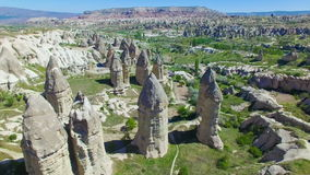 Aerial view of rocks in Cappadocia stock video footage