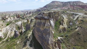 Aerial view of rocks in Cappadocia stock video