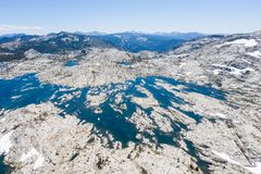 Aerial View of Rocks and Lake in Sierra Nevada Mountains in California