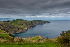 Aerial view. Rocky coastal scenery at Sao Miguel Island, Azores, Portugal stock photo