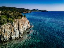 Aerial view of a rocky coastline Mediterranean Sea. Greece. Summer landscape Royalty Free Stock Photo