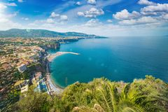 Rocky coastline Sorrento city - popular tourist destination in I. Aerial view of rocky coastline Sorrento city and Gulf of Naples - popular tourist destination Stock Photography