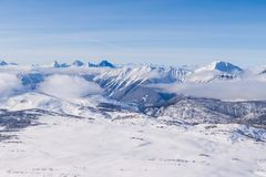 An aerial view of the Rocky Mountains in Alberta in winter Royalty Free Stock Photo