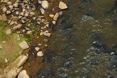 Aerial View of The Rocky Riverbank of A River. An aerial view shot above the rocky riverbank shoreline of a slightly muddy fresh water river on a sunny day Royalty Free Stock Image