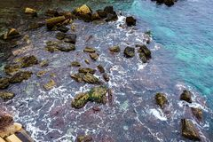 Aerial view of the Rocky Shore with crystal water of sea in Sicily royalty free stock photo