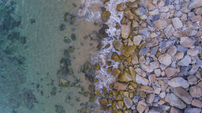 Aerial view of Rocky Shore Stock Photo