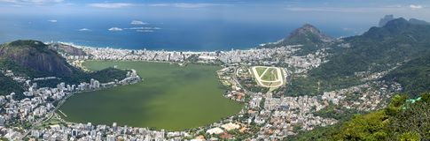 Aerial view of Rio de Janeiro, Brazil. Aerial view of Rodrigo de Freitas lagoon Ipanema and Leblon beaches in the background.Rio de Janeiro, Brazil stock photo