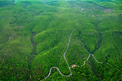 Aerial view of the rolling hills with green trees, roads and rivers. Stock Image