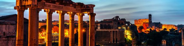 Aerial view of Roman forum in Rome Royalty Free Stock Photo