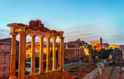 Aerial view of Roman forum in Rome Royalty Free Stock Images