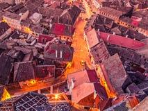 Aerial view of Romanian city Sibiu royalty free stock photos