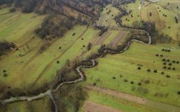 An aerial view of the Romanian landscape during a day of late autumn Stock Image