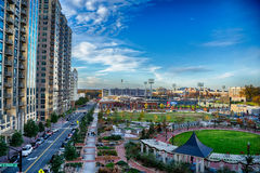 Aerial view of romare bearden park in downtown charlotte north c Stock Photography