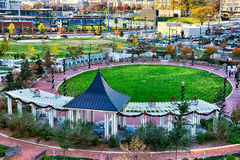Aerial view of romare bearden park in downtown charlotte north c Royalty Free Stock Images