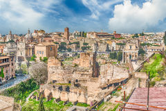 Aerial view of Rome city centre from the Palatine Hill Royalty Free Stock Photo