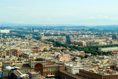 Aerial view of Rome city from St Peter Basilica roof Stock Images