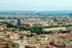Aerial view of Rome city from St Peter Basilica roof Stock Image