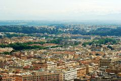 Aerial view of Rome city from St Peter Basilica roof Royalty Free Stock Photo