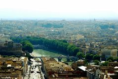 Aerial view of Rome city from St Peter Basilica roof Royalty Free Stock Image