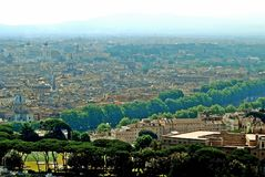 Aerial view of Rome city from St Peter Basilica roof Royalty Free Stock Photography