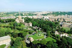 Aerial view of Rome city from St Peter Basilica roof Royalty Free Stock Photos