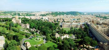 Aerial view of Rome city from St Peter Basilica roof Stock Photo