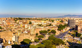 Aerial view of Rome with Colosseum Royalty Free Stock Photo