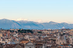 Aerial view of Rome downtown with mountains on the background Royalty Free Stock Photo