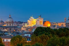 Rome. Aerial view of the city at night. Stock Photo